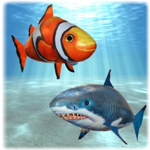 Air swimmer shark and fish